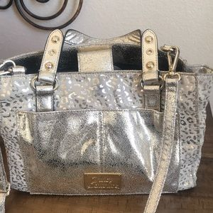 Juicy Couture gold metallic animal print satchel